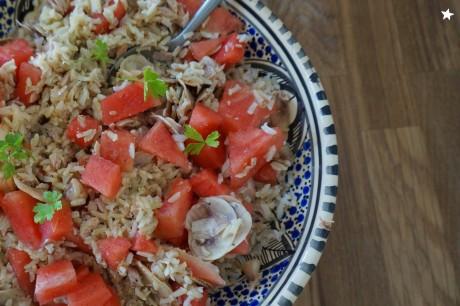 salada de arroz e melancia