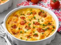 Clafoutis de queijo e tomate cereja